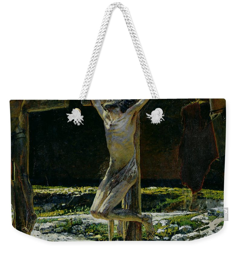 Son Of God Weekender Tote Bag featuring the painting The Crucifixion by Nikolai Nikolaevich Gay