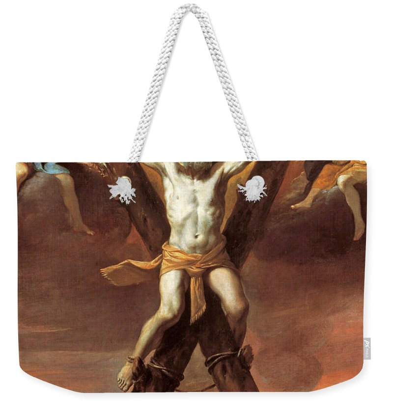 Mattia Preti Weekender Tote Bag featuring the painting The Crucifixion Of St Andrew by Mattia Preti