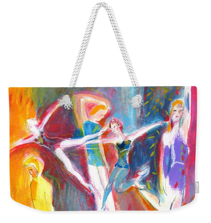 Dance Weekender Tote Bag featuring the painting The Dancers by Mary Armstrong