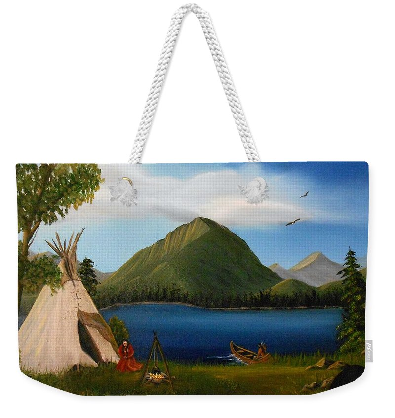 Landscape Weekender Tote Bag featuring the painting Dawn Of Tohidu by Sheri Keith
