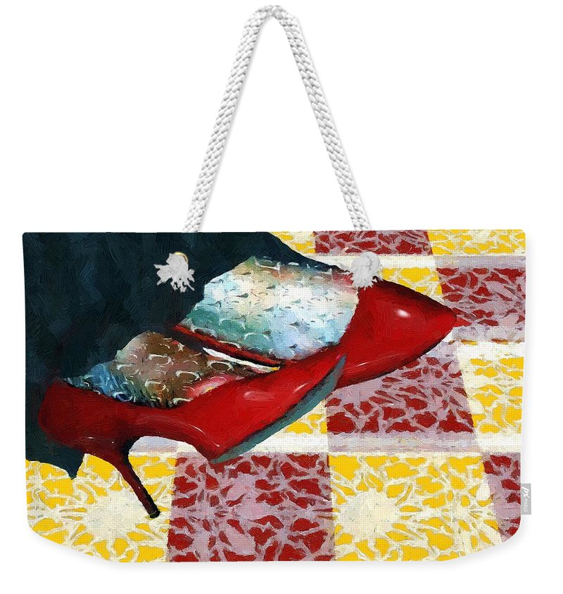 Shoes Weekender Tote Bag featuring the painting The Day The Witch Came To Tea by RC DeWinter