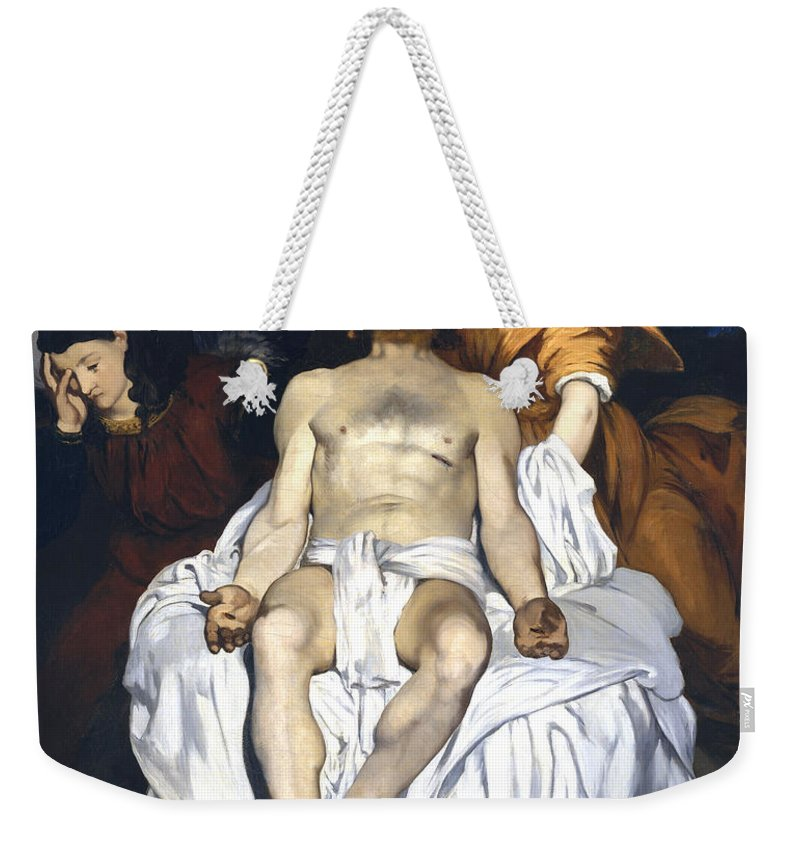 Edouard Manet Weekender Tote Bag featuring the digital art The Dead Christ With Angels by Edouard Manet