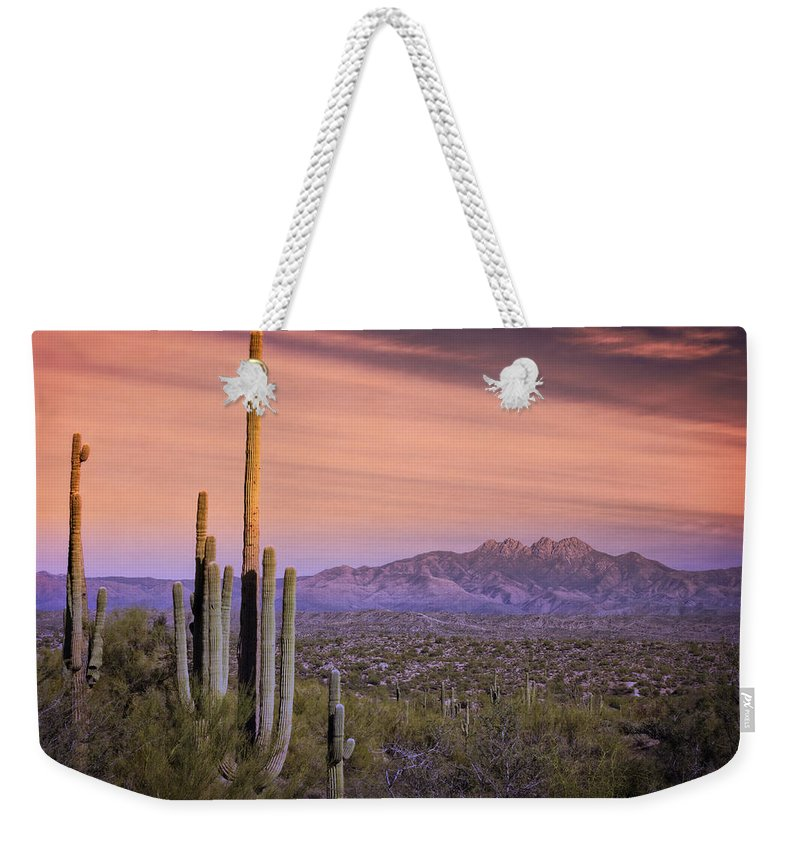 Skyscape Weekender Tote Bag featuring the photograph The Desert Beckons by Saija Lehtonen