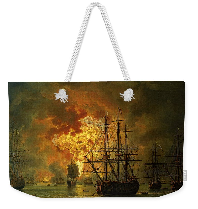 Sea Weekender Tote Bag featuring the painting The Destruction Of The Turkish Fleet At The Bay Of Chesma by Jacob Philippe Hackert