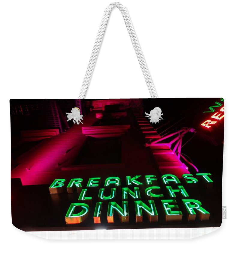 New York Weekender Tote Bag featuring the photograph The Diner by Ed Weidman