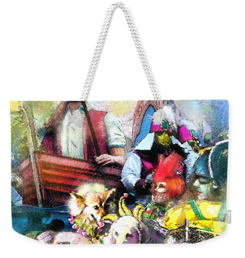 New Orleans Weekender Tote Bag featuring the painting The Dogs Parade In New Orleans by Miki De Goodaboom