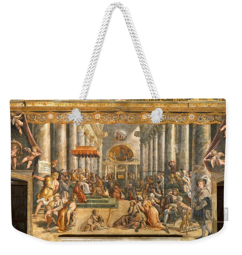 The Donation Of Rome Weekender Tote Bag featuring the painting The Donation Of Rome. by Raphael