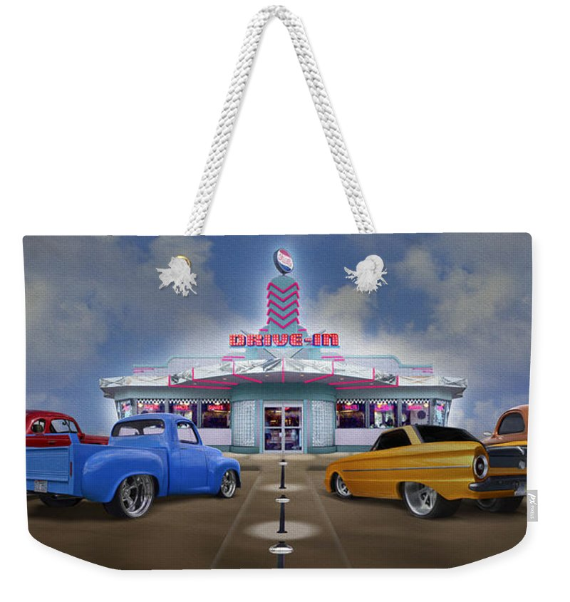 1950s Drivein Weekender Tote Bag featuring the photograph The Drive In by Mike McGlothlen