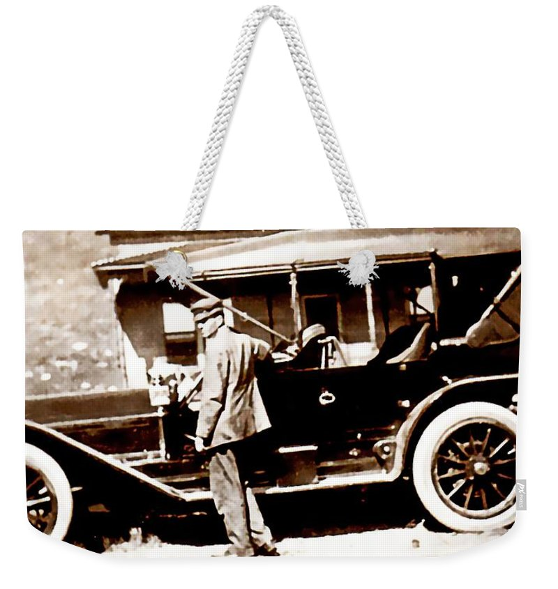 Vintage Weekender Tote Bag featuring the photograph The Driver by Image Takers Photography LLC