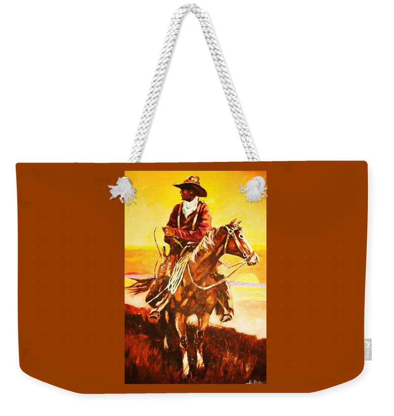 Cowboy Weekender Tote Bag featuring the painting The Drover by Al Brown