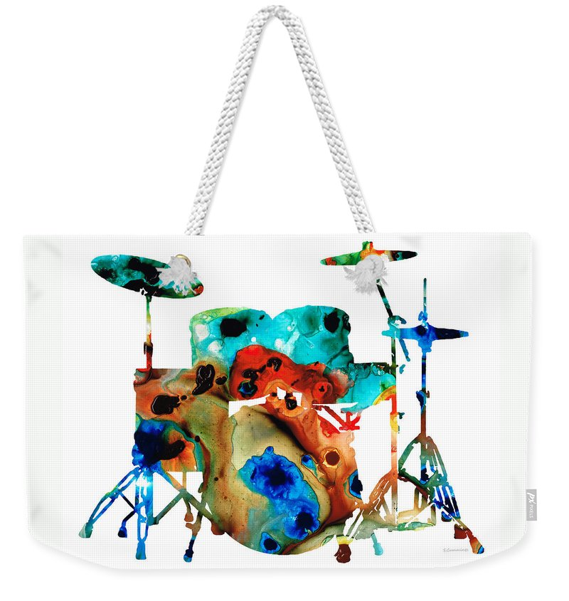 Drum Weekender Tote Bag featuring the painting The Drums - Music Art By Sharon Cummings by Sharon Cummings
