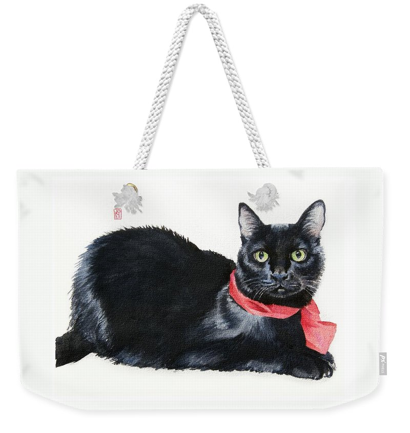 Black Cat Weekender Tote Bag featuring the painting The Dude by Debra Jones