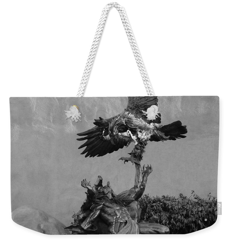 Eagle Weekender Tote Bag featuring the photograph The Eagle And The Indian In Black And White by Rob Hans