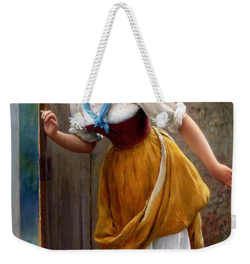 Eugene De Blaas Weekender Tote Bag featuring the digital art The Eavesdropper by Eugene de Blaas