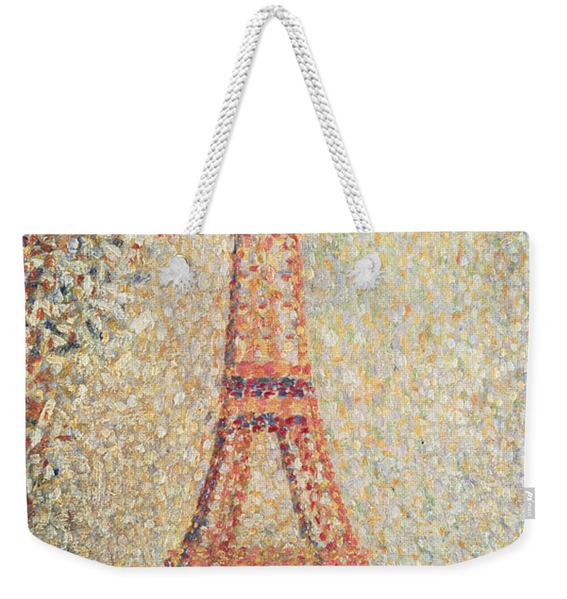 Tour; Pointillist; Neo; Impressionist; Paris Weekender Tote Bag featuring the painting The Eiffel Tower by Georges Pierre Seurat