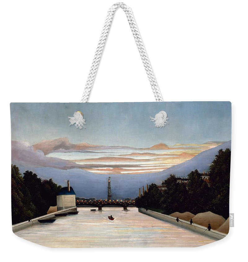Henri Rousseau Weekender Tote Bag featuring the painting The Eiffel Tower by Henri Rousseau
