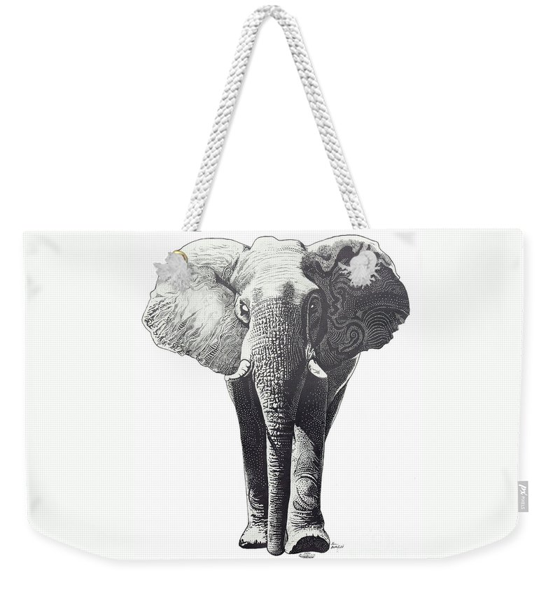Elephant Weekender Tote Bag featuring the drawing The Elephant by Kean Butterfield
