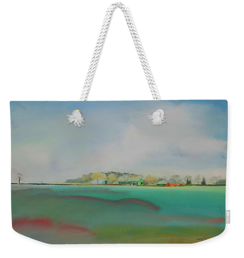 Landscape Weekender Tote Bag featuring the painting The English Farm  A Break In The Cloud by Charles Stuart