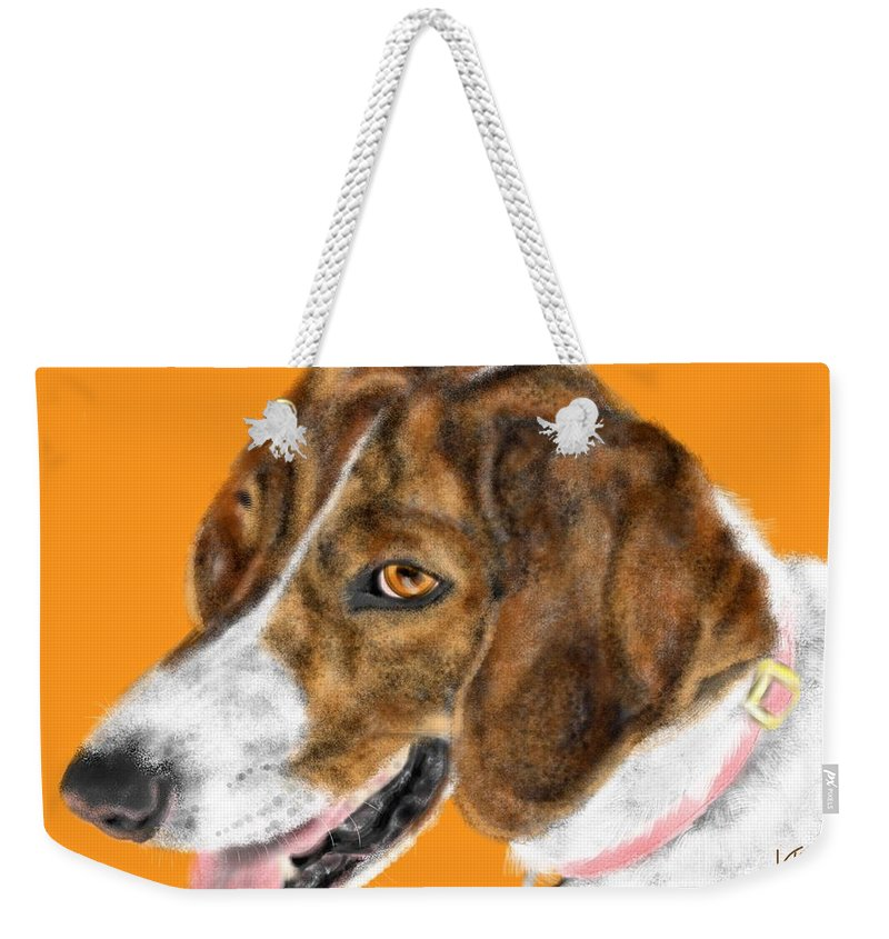 Animal Weekender Tote Bag featuring the painting The English Pointer Foxhound by Lois Ivancin Tavaf