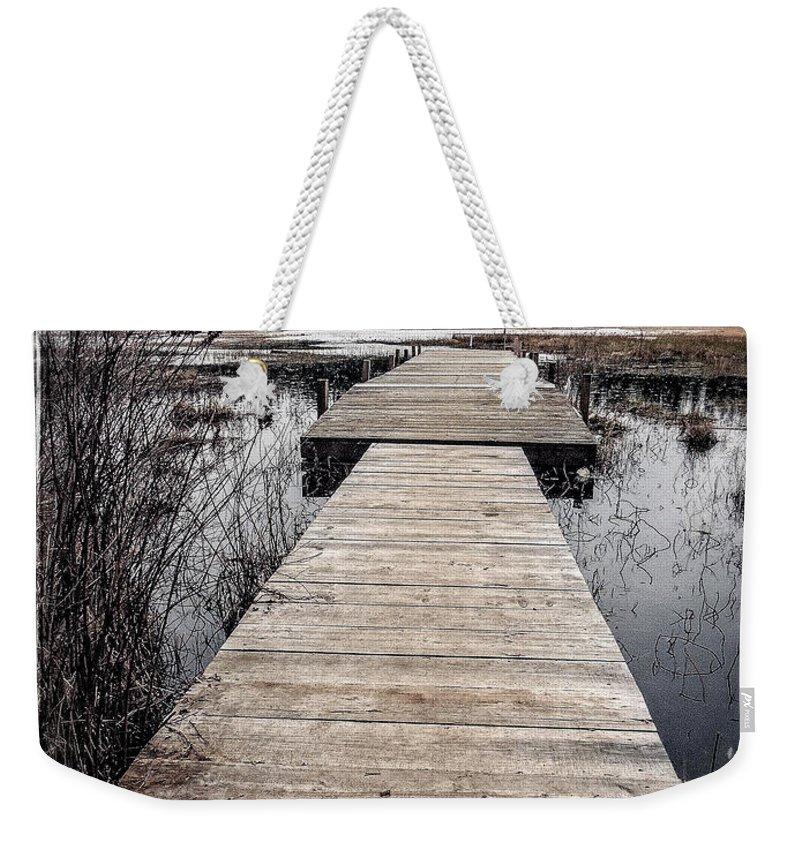 Hamilton Marsh Weekender Tote Bag featuring the photograph Pier Hamilton Marsh by Roxy Hurtubise