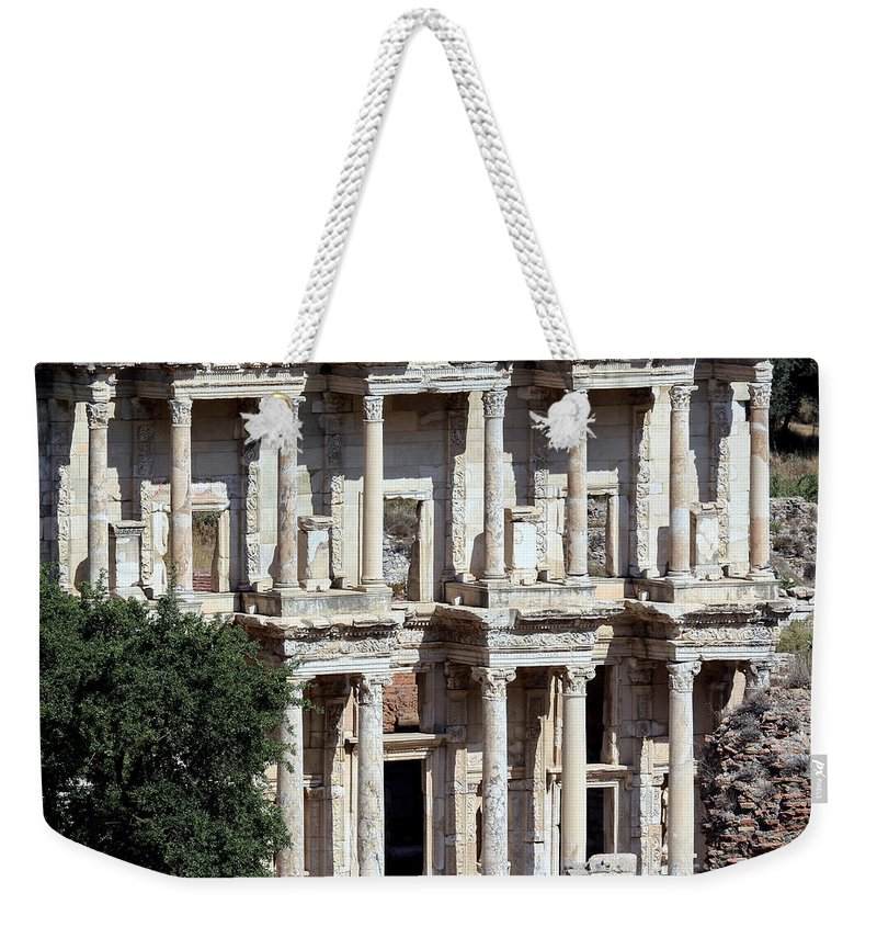 Ancient Weekender Tote Bag featuring the photograph The Ephesus Library In Turkey by Sabrina L Ryan