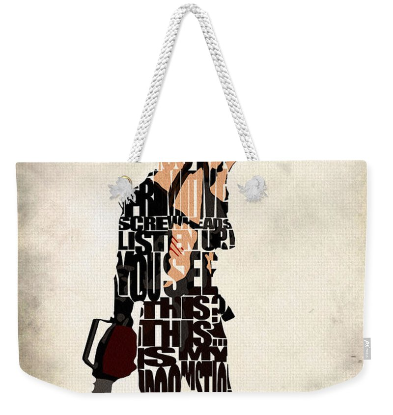 Ash Weekender Tote Bag featuring the digital art The Evil Dead - Bruce Campbell by Inspirowl Design