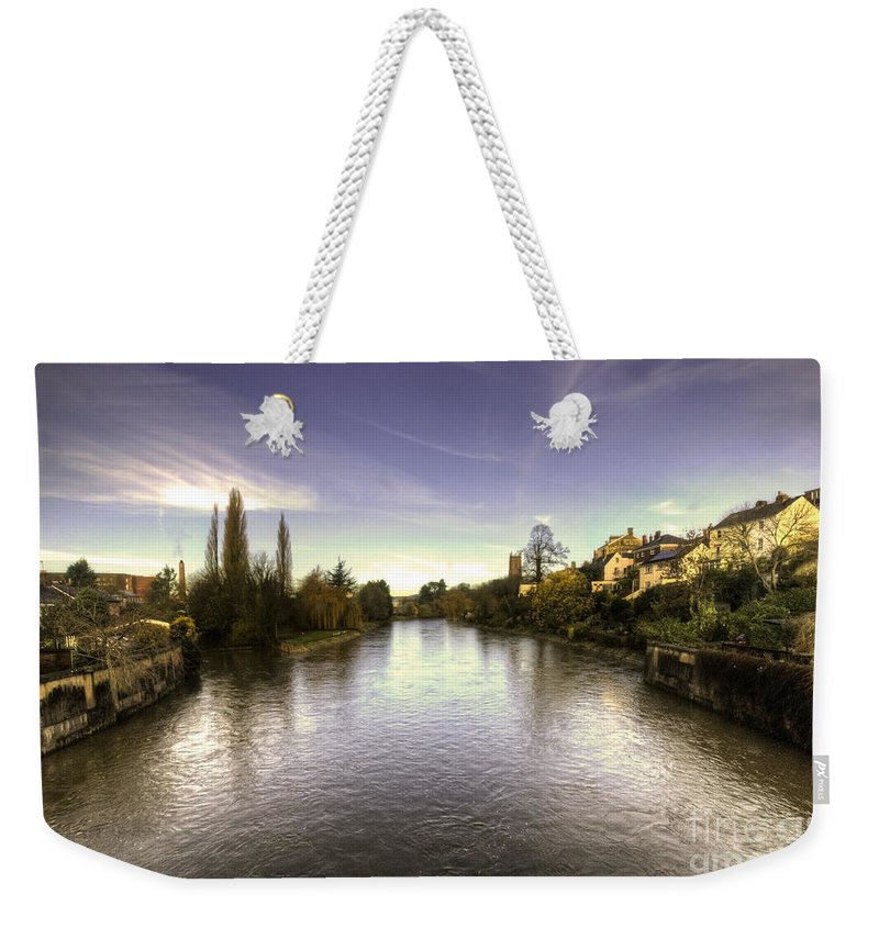 River Weekender Tote Bag featuring the photograph The Exe At Tiverton by Rob Hawkins