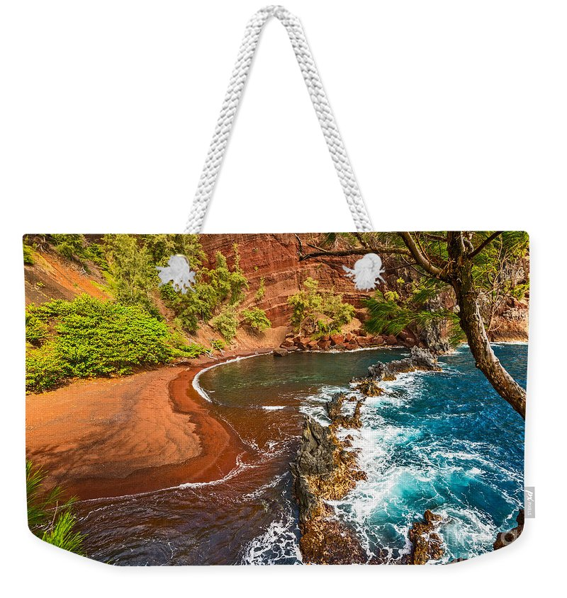 Red Sand Beach Weekender Tote Bag featuring the photograph The Exotic And Stunning Red Sand Beach On Maui by Jamie Pham