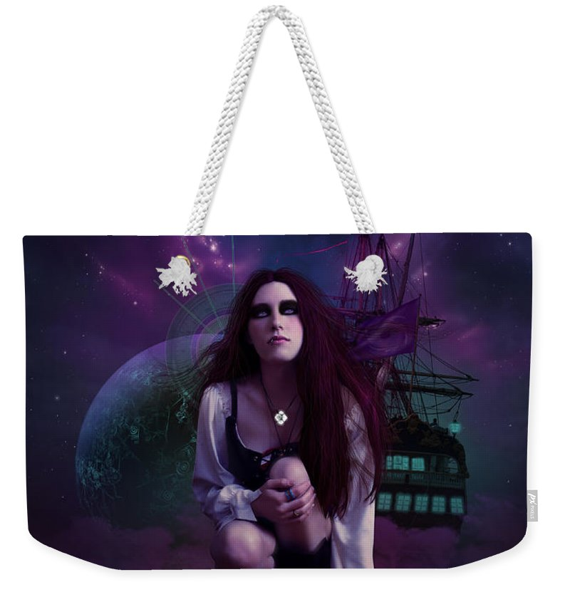 Fantasy Weekender Tote Bag featuring the digital art The Explorer by Cassiopeia Art