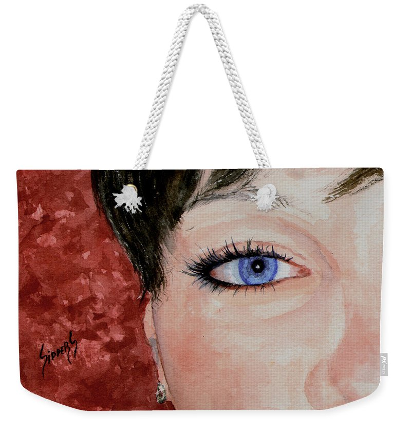 Face Weekender Tote Bag featuring the painting The Eyes Have It - Nicole by Sam Sidders