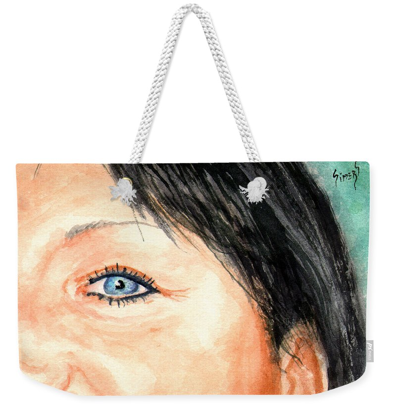 Tami Weekender Tote Bag featuring the painting The Eyes Have It - Tami by Sam Sidders