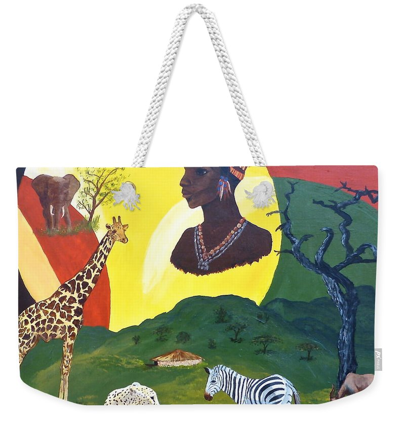 Africa Weekender Tote Bag featuring the painting The Faces Of Africa by Alicia Fowler
