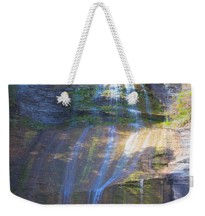 Limestone Weekender Tote Bag featuring the photograph The Falls by William Norton