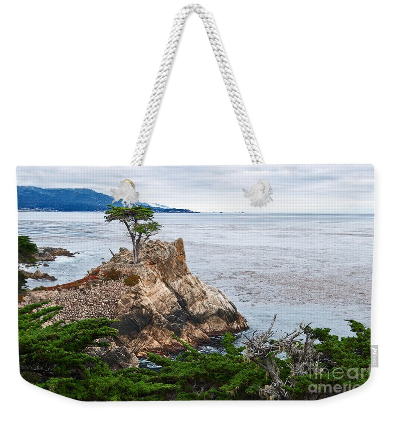 Lone Cypress Weekender Tote Bag featuring the photograph The Famous Lone Cypress Tree At Pebble Beach In Monterey California by Jamie Pham