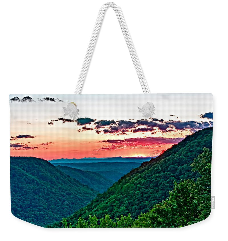 Sunset Weekender Tote Bag featuring the photograph The Far Hills 2 by Steve Harrington