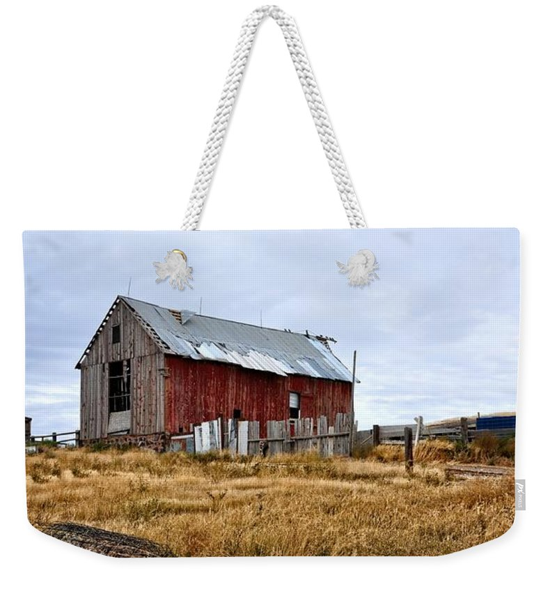 Barn Weekender Tote Bag featuring the photograph The Farm by Image Takers Photography LLC