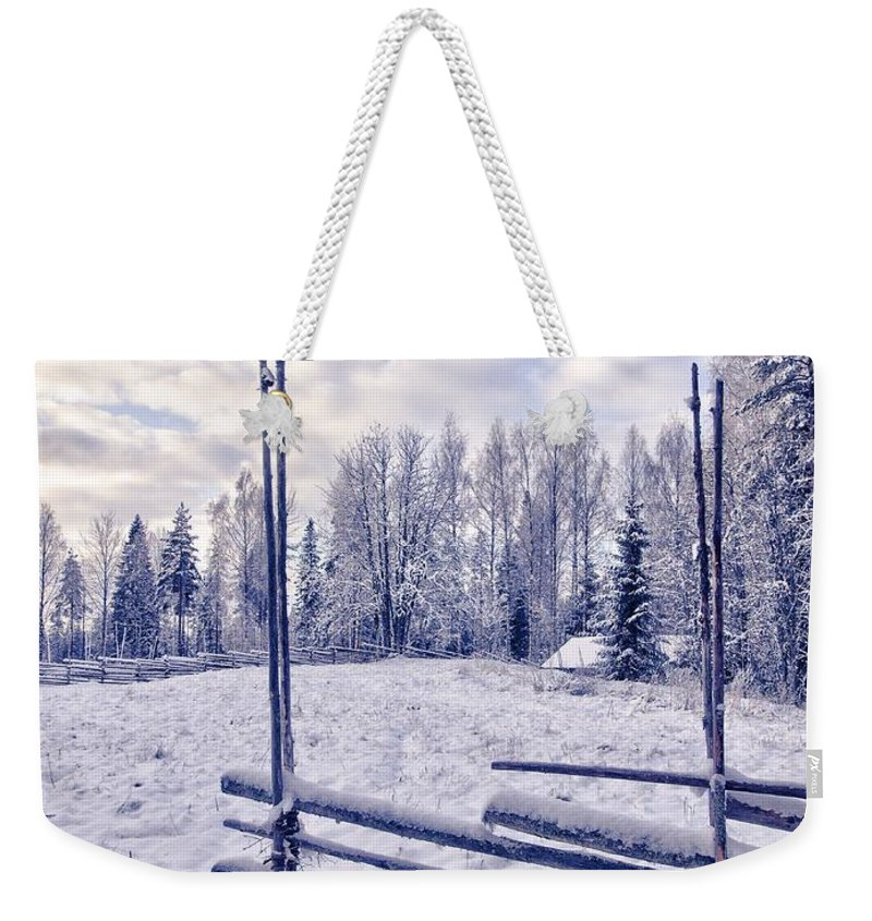 Kovero Weekender Tote Bag featuring the photograph The Fence by Jouko Lehto
