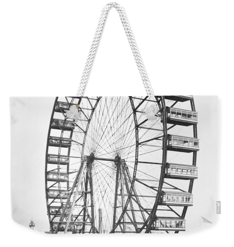 Fairground Weekender Tote Bag featuring the photograph The Ferris Wheel At The Worlds Columbian Exposition Of 1893 In Chicago Bw Photo by American Photographer