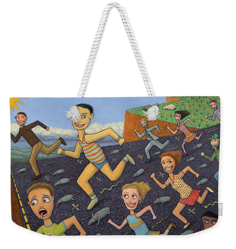 Running Weekender Tote Bag featuring the painting The Finish Line by James W Johnson