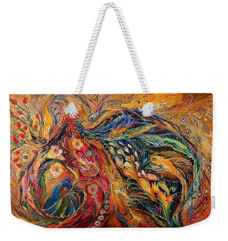 Original Weekender Tote Bag featuring the painting The Fire Dance by Elena Kotliarker