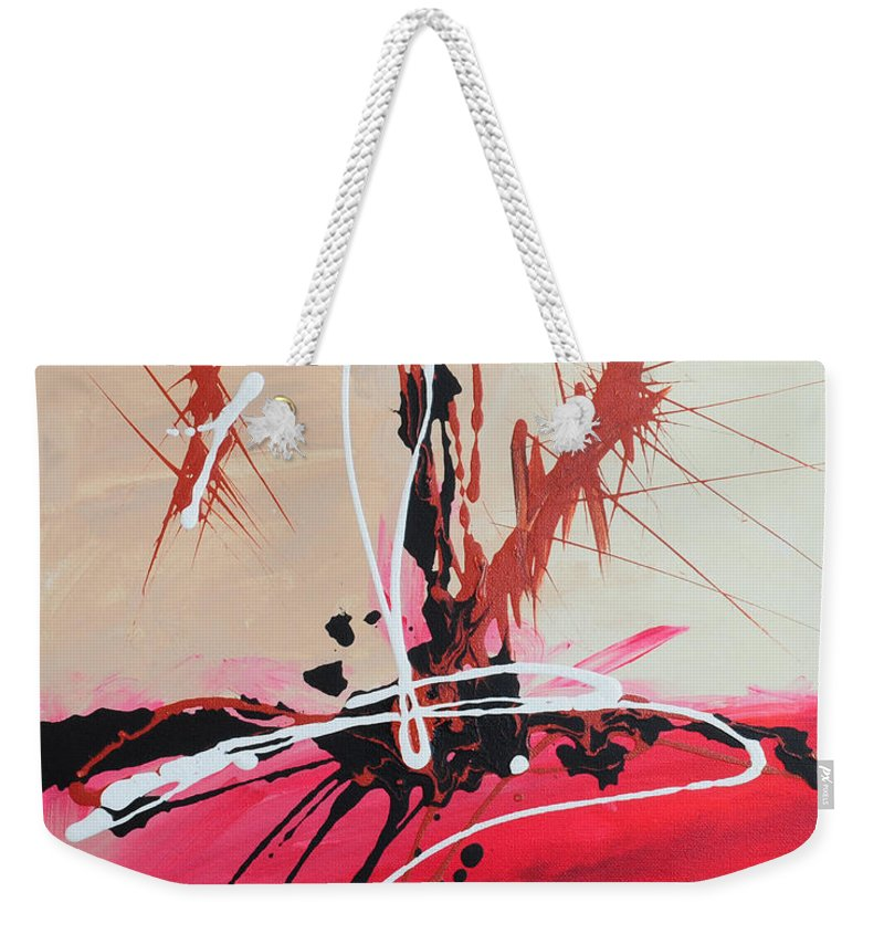 Acrylic Weekender Tote Bag featuring the painting The Fire Within Coming Out by Paulette B Wright