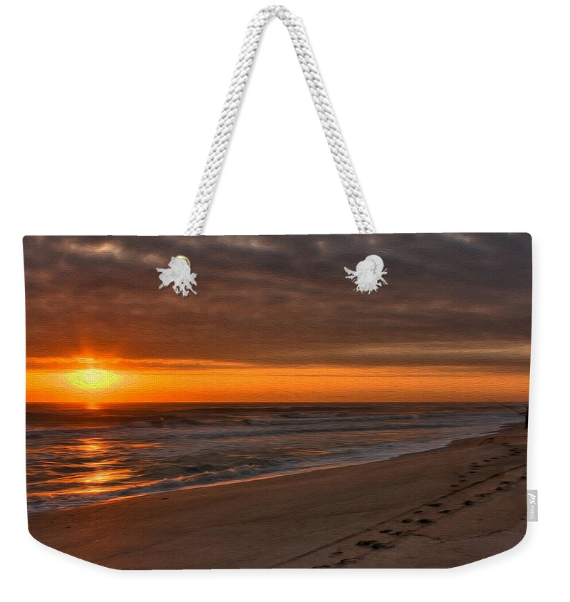 Beach Weekender Tote Bag featuring the photograph The Fisherman's Golden Hour by John M Bailey