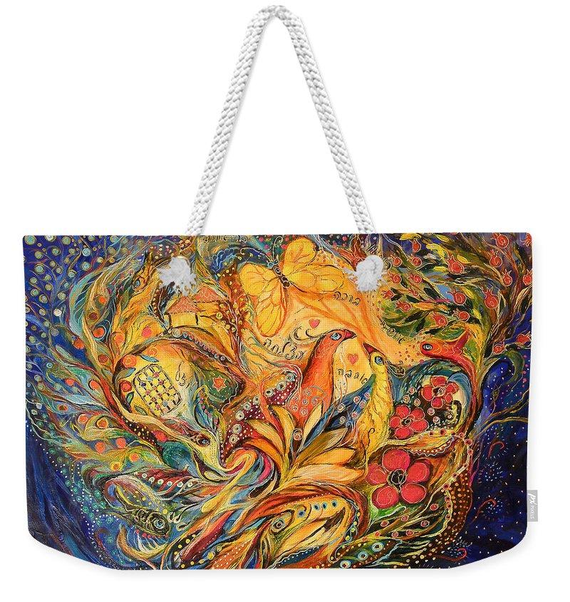 Original Weekender Tote Bag featuring the painting The Fishermen Village by Elena Kotliarker