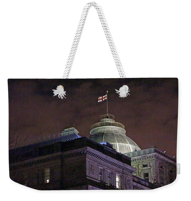 Montreal Weekender Tote Bag featuring the photograph The Flag by Munir Alawi