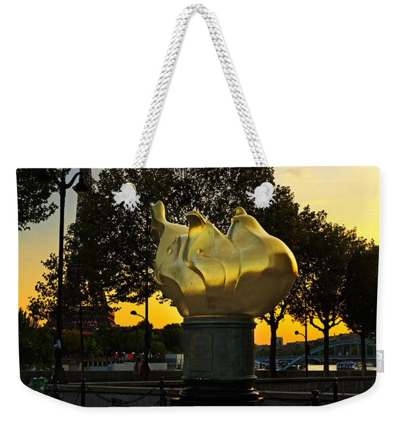 Flame Of Liberty Weekender Tote Bag featuring the photograph The Flame Of Liberty In Paris by Louise Heusinkveld