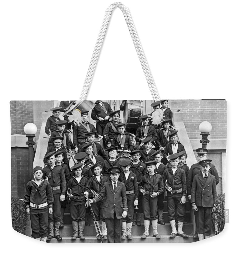 10-15 Years Weekender Tote Bag featuring the photograph The Flatbush Boys' Club Band by Underwood Archives