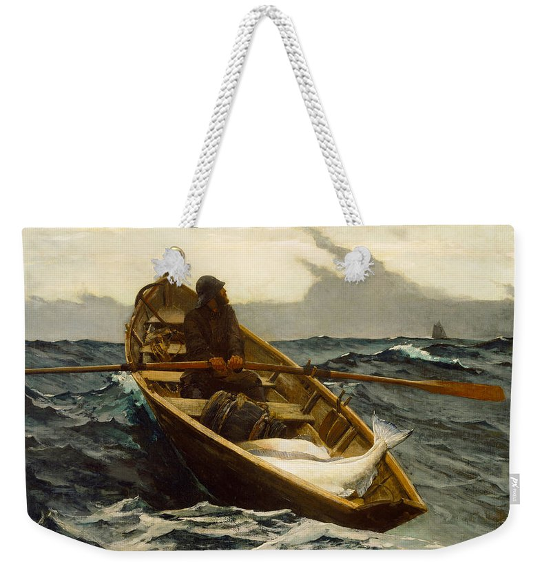 Winslow Homer Weekender Tote Bag featuring the digital art The Fog Warning by Winslow Homer