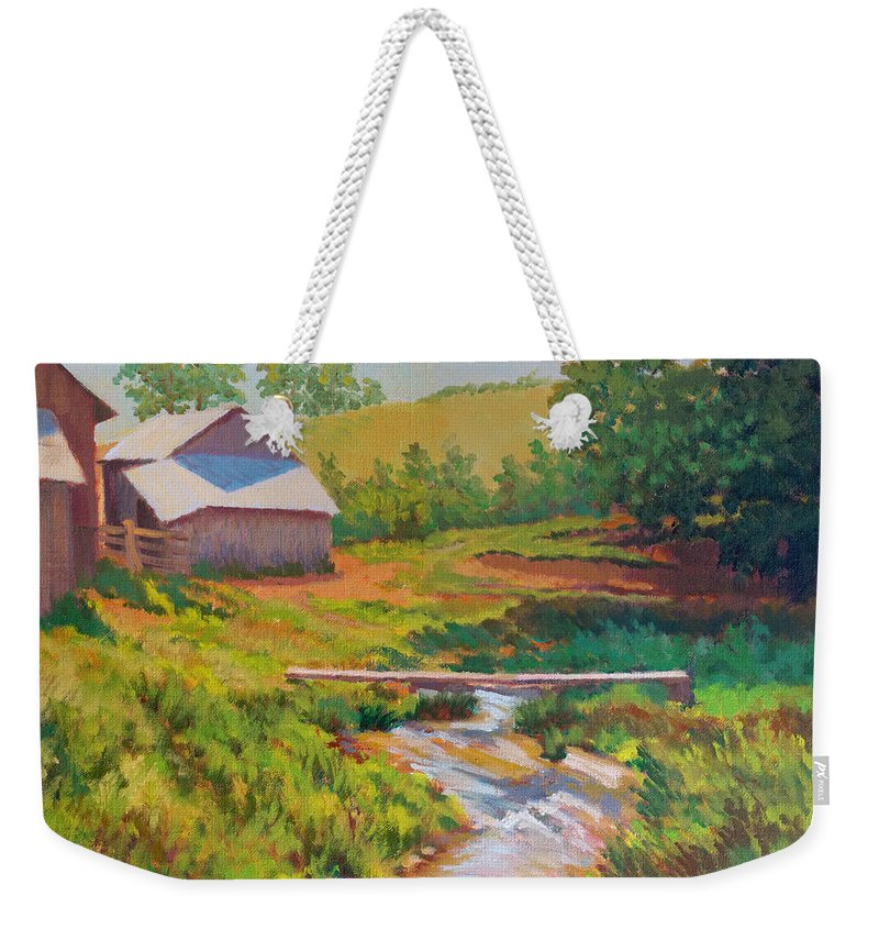 Impressionism Weekender Tote Bag featuring the painting The Foot Bridge by Keith Burgess