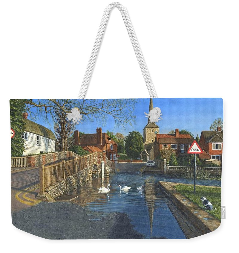 Eynsford Weekender Tote Bag featuring the painting The Ford At Eynsford Kent by Richard Harpum