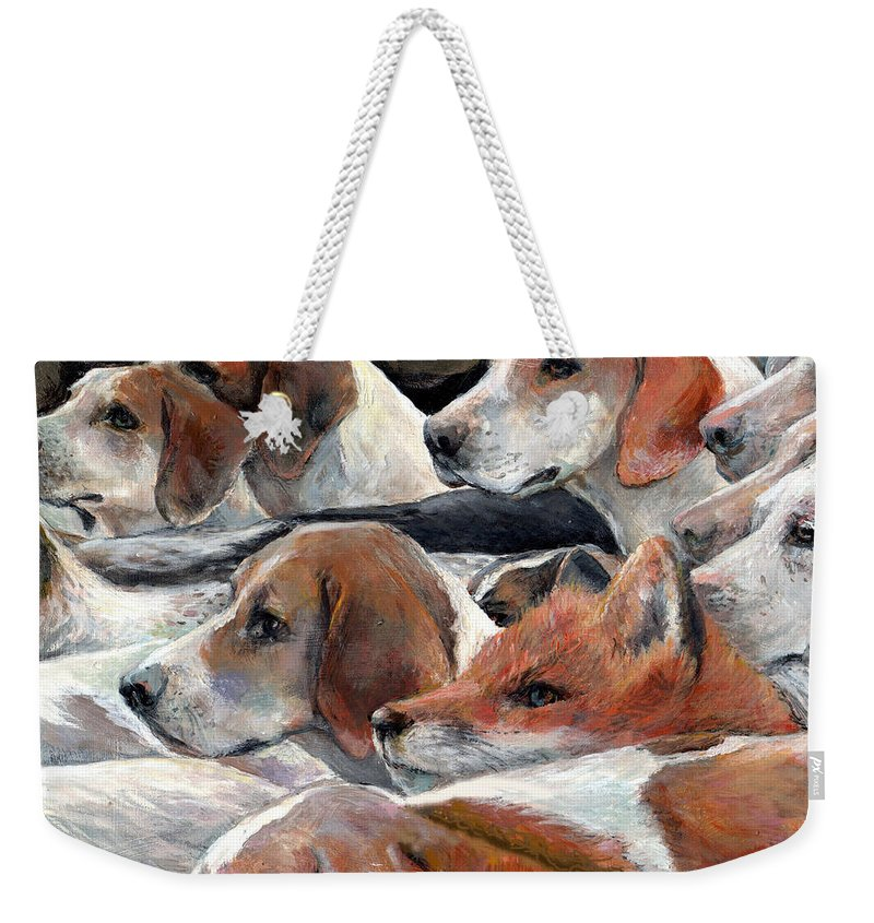 Nature Weekender Tote Bag featuring the painting Fox Play by Donna Tucker